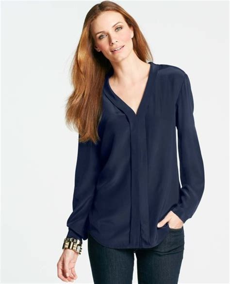 Navy Blue Silk Blouse by Silk Navy Blue Blouse Lace Henley Blouse