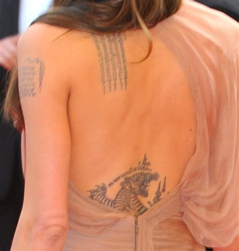 tattoo on angelina jolie s hand angelina jolie tattoo on back