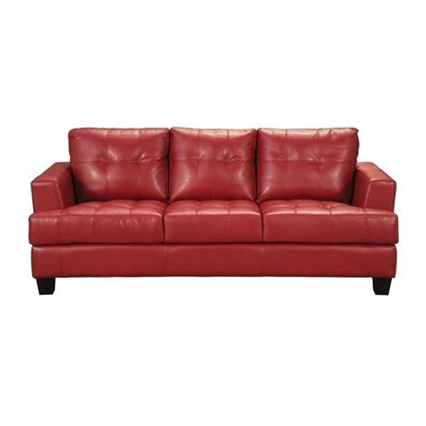 leather sofa red coaster samuel modern tufted leather sofa in red 501831