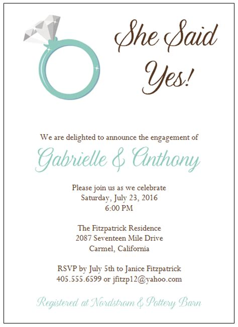 templates for engagement invitations engagement invitations template