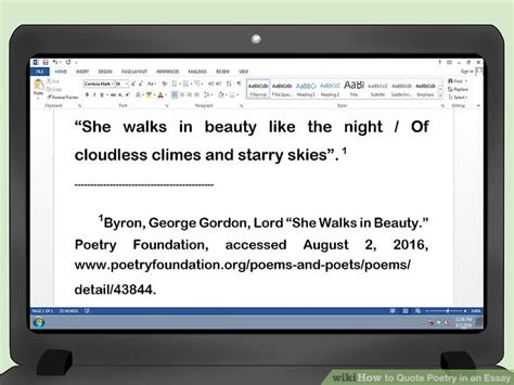 How Do You Mention A Poem In An Essay by How To Quote Poetry In An Essay With Pictures Wikihow
