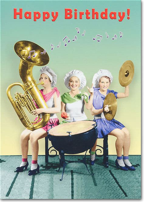 women playing instruments funny birthday card greeting card  oatmeal studios ebay