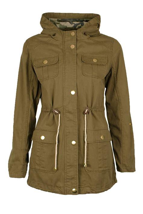 Jaket Parka Kanvas Womem womens khaki canvas drawstring parka jacket hooded
