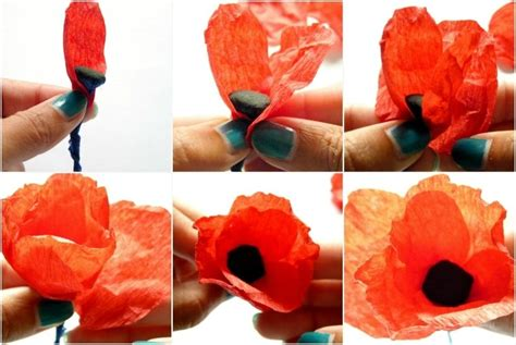 Make Paper Poppies - poppies paper flowers 183 how to make a bouquet 183 papercraft