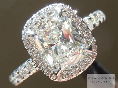 halo ring cushion cut engagement ring