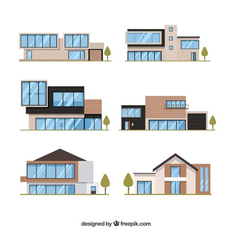home design vector free download collection of six modern houses in flat design vector