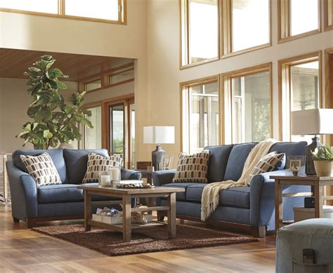 Janley Denim Sofa Loveseat 43807 38 35 Living Denim Living Room Furniture