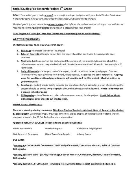 Science Fair Research Paper Ideas by Social Studies Fair Research Project 7th Grade