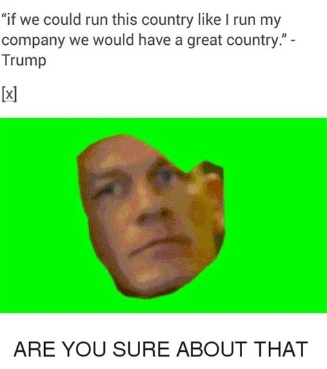 Are You Sure About That Meme - if we could run this country like l run my company we
