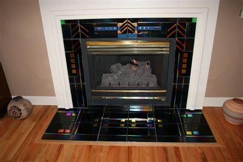 Custom Made Fused Glass Fireplace Surround By Chuck Glass Fireplace Surround