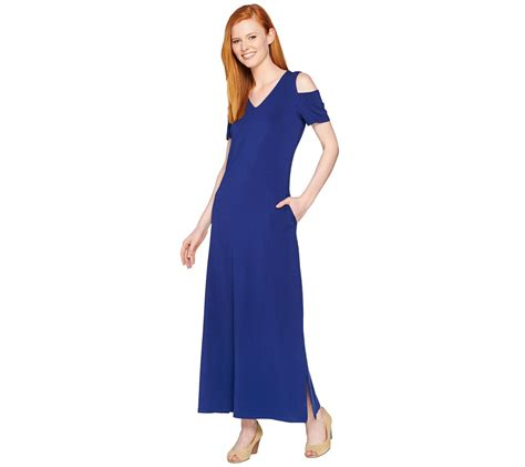 denim co v neckline sleeve cold shoulder maxi dress page 1 qvc