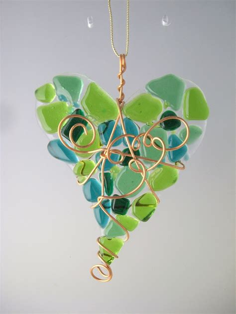 bring4th heart shades of green fused glass heart suncatcher in shades of green item h5gr