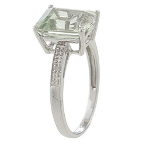 10k white gold emerald cut green amethyst and ring