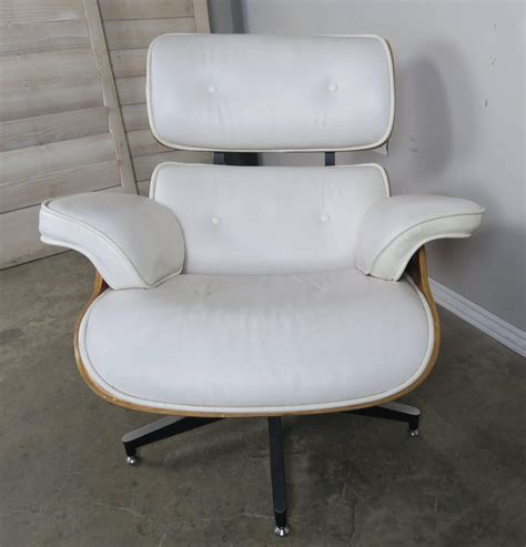 white chair and ottoman eames style white leather chair and ottoman