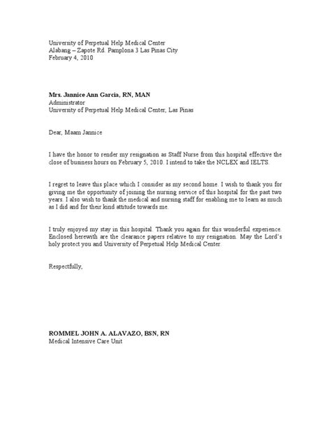 Resignation Letter To Nursing Home Nursing Resignation Letter