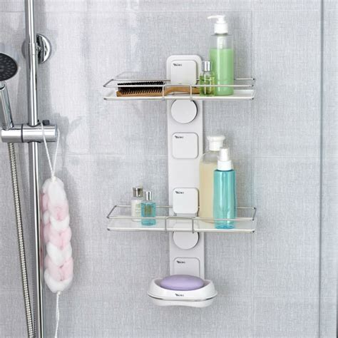 suction shelves bathroom hot sale bathroom diy wall suction cup shelving double
