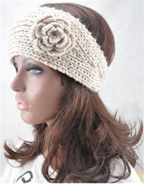 knit winter headband winter crochet headband knit hairband flower ear