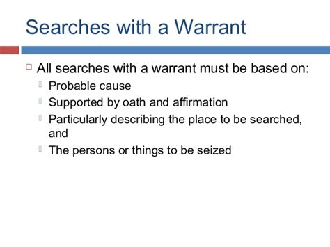 Searches With A Warrant Ch10