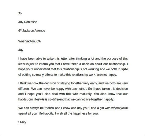 sample breakup letter documents word break template