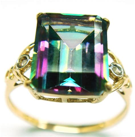 stunning 9ct yellow gold mystic topaz ring r1027