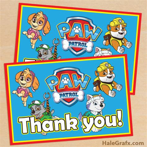 Printable Thank You Cards Paw Patrol | free printable paw patrol thank you card