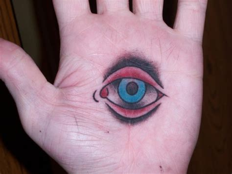 tattoo of eye in palm of hand egyptian tattoo on left palm