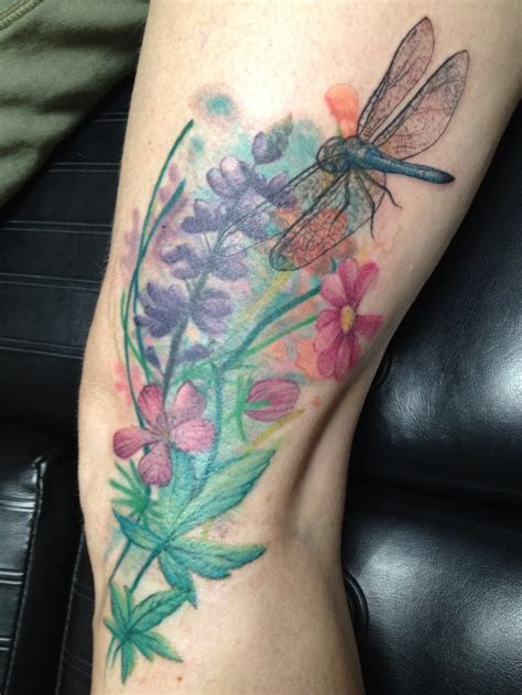 wild flower tattoo designs flowers with dragonfly done by