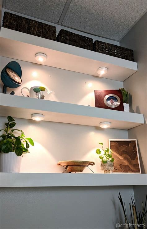 floating shelves with lights underneath how to build diy floating shelves reality daydream