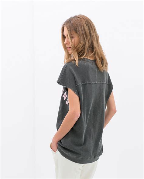 Preloved Zara Tshirt zara slogan tshirt in gray charcoal lyst