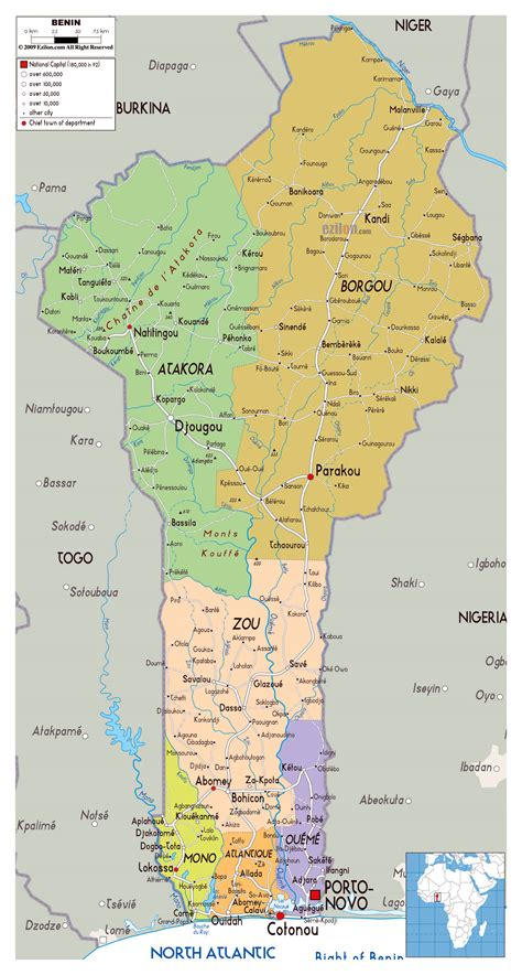 benin physical map maps of benin map library maps of the world