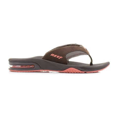 Womens Reef Fanning Brown Coral Toe Post Sandals Flip