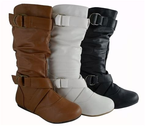 fashion boots fashion mid calf faux leather flat boots style