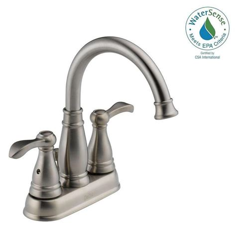 delta brushed nickel kitchen faucet delta porter 4 in centerset 2 handle bathroom faucet in