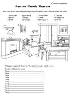 house printable exercises house worksheets furniture fill in worksheet home index