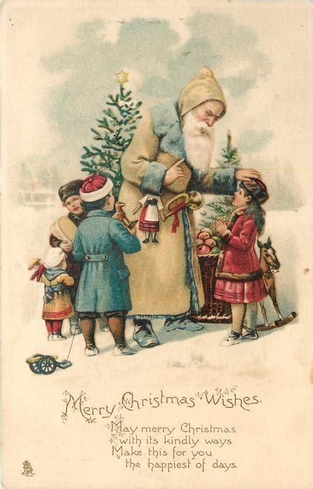 merry christmas wishes white coated santa  toys  children  snow tuckdb