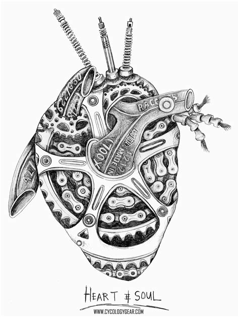 A lead pencil on paper drawing - a heart made from bicycle