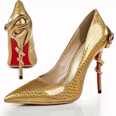 Handmade High Heels - new handmade gold snake high heel shoes fashion s