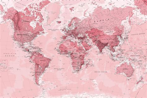 Pink World Map Wall Mural Murals Wallpaper