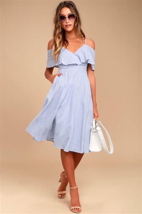 Big Stripe Casual Dress 26018 blue and white dress striped dress midi dress