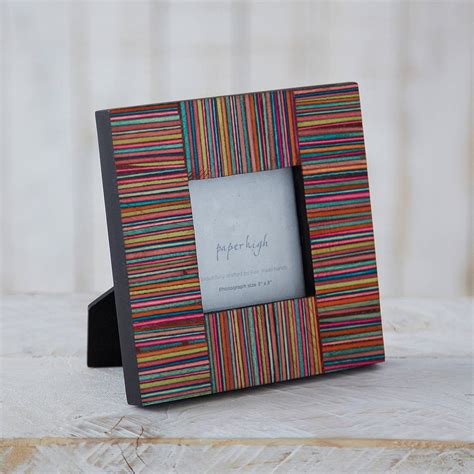Handmade In - dhari fair trade handmade stripy photo frame by paper high