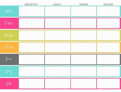 printable meal planner with snacks weekly menu planning template color colorful breakfast