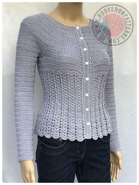 knitting pattern fitted sweater kamila fitted cardigan crochet pattern by hooked on patterns