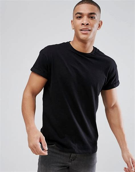 Tshirt Levis Soul Colection new look new look t shirt with roll sleeve in black