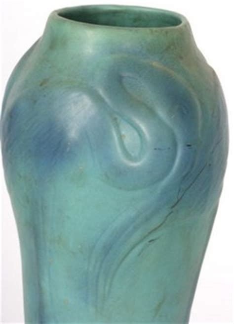Briggle Floors by Briggle Pottery Vase Floor Flamingos Blue