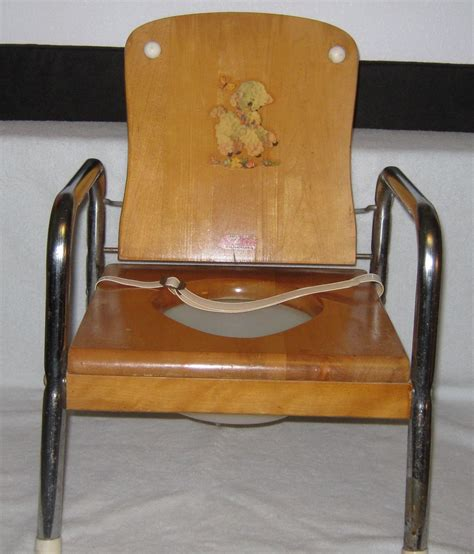 Antique Potty Chair by Vintage Folding Child S Wood Potty Chair Decal Oak