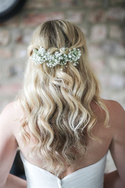 Wedding Hair With Gypsophila by Pink Summer Gling Wedding Whimsical