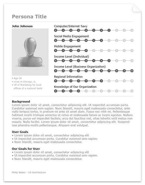 ux persona template succinct with a nicely lay out for