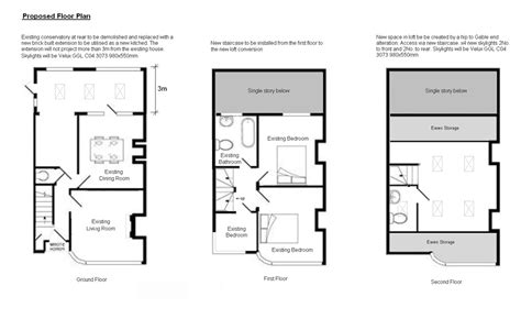 loft conversion floor plans the proposed layout the self build extension