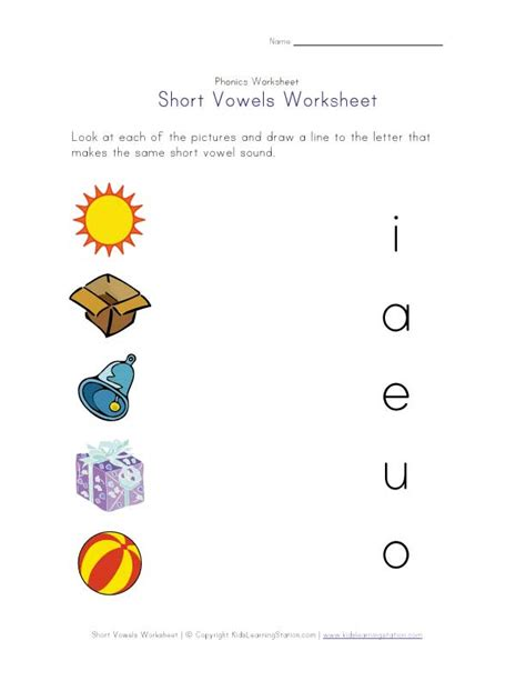 free printable vowel letters short vowel matching worksheet literacy pinterest