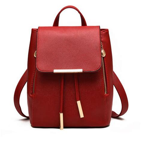 Backpack Fashion new backpack faux leather student school bag casual